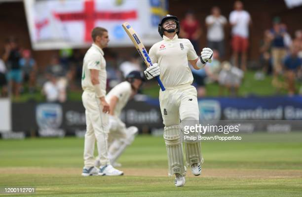 Ollie Pope of England celebrates reaching his century during Day Two of the Third Test between England and South Africa on January 17, 2020 in Port...