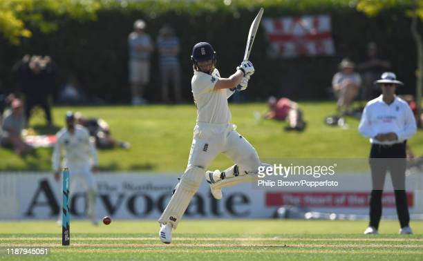 Ollie Pope of England hits out at Cobham Oval on November 16 2019 in Whangarei New Zealand