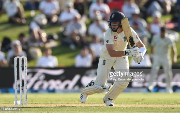 Ollie Pope of England hits out during day one of the first Test match between New Zealand and England at Bay Oval on November 21, 2019 in Mount...
