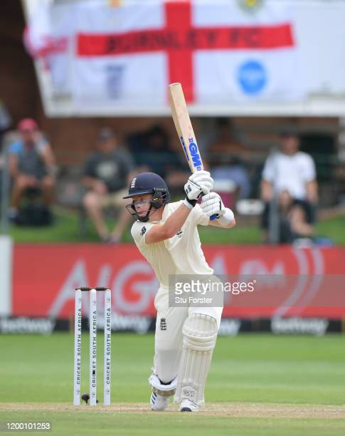 Ollie Pope of England hits out during Day Two of the Third Test between South Africa and England at St George's Park on January 17 2020 in Port...