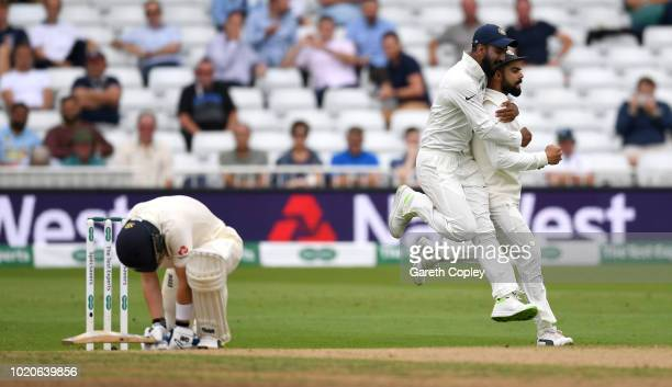 Ollie Pope of England reacts after being caught out Virat Kohli of India during day four of the Specsavers 3rd Test match between England and India...