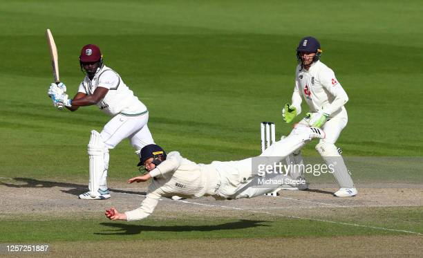 Ollie Pope of England takes the catch of Kemar Roach of West Indies to win the match during Day Five of the 2nd Test Match in the #RaiseTheBat Series...
