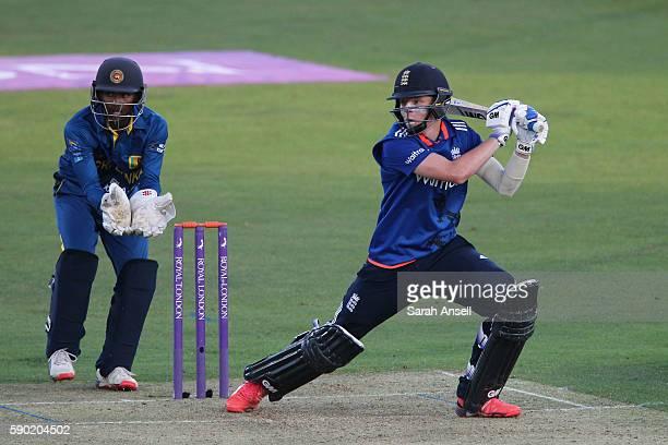 Ollie Pope of England U19 hits a boundary as Sri Lanka U19 wicket keeper Navindu Vithanage looks on during the Royal London OneDay Series match...