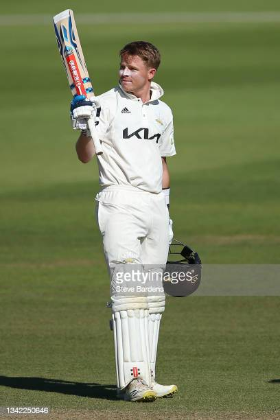 Ollie Pope of Surrey acknowledges the supporters after reaching his double century on day four during the LV= Insurance County Championship match...