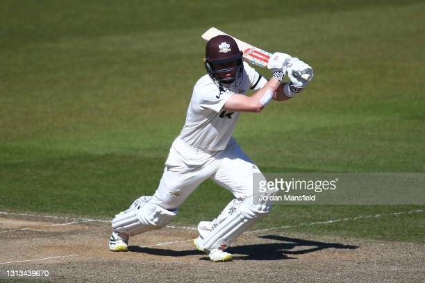 Ollie Pope of Surrey bats during day three of the LV= Insurance County Championship match between Surrey and Leicestershire at The Kia Oval on April...