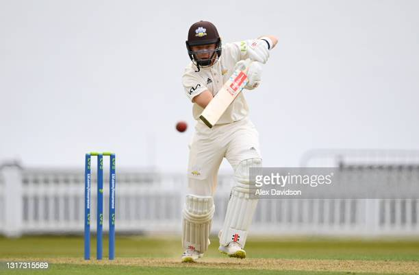 Ollie Pope of Surrey bats during Day Two of the LV= Insurance County Championship match between Surrey and Hampshire at The Kia Oval on April 30,...