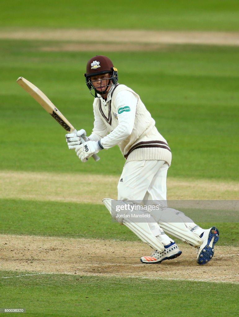 Ollie Pope of Surrey bats during day two of the Specsavers County Championship Division One match between Surrey and Somerset at The Kia Oval on September 20, 2017 in London, England.