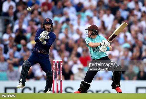 Ollie Pope of Surrey bats during the Vitality Blast match between Surrey and Essex Eagles at The Kia Oval on July 12 2018 in London England