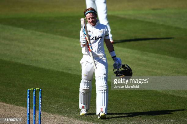 Ollie Pope of Surrey celebrates his 200 during day three of the LV= Insurance County Championship match between Surrey and Leicestershire at The Kia...