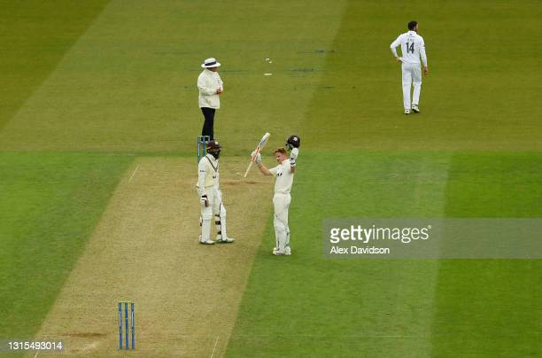 Ollie Pope of Surrey celebrates reaching his century during Day Two of the LV= Insurance County Championship match between Surrey and Hampshire at...