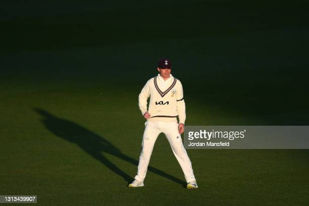 Ollie Pope of Surrey fields in the slips during day three of the LV= Insurance County Championship match between Surrey and Leicestershire at The Kia...