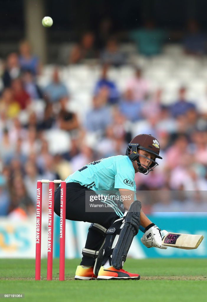 Ollie Pope of Surrey hits a boundry during the Vitality Blast match between Surrey and Essex Eagles at The Kia Oval on July 12, 2018 in London, England.