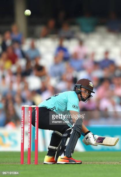 Ollie Pope of Surrey hits a boundry during the Vitality Blast match between Surrey and Essex Eagles at The Kia Oval on July 12 2018 in London England