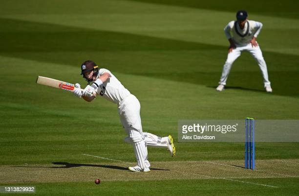 Ollie Pope of Surrey hits runs during Day One of the LV=Insurance County Championship match between Middlesex and Surrey at Lord's Cricket Ground on...