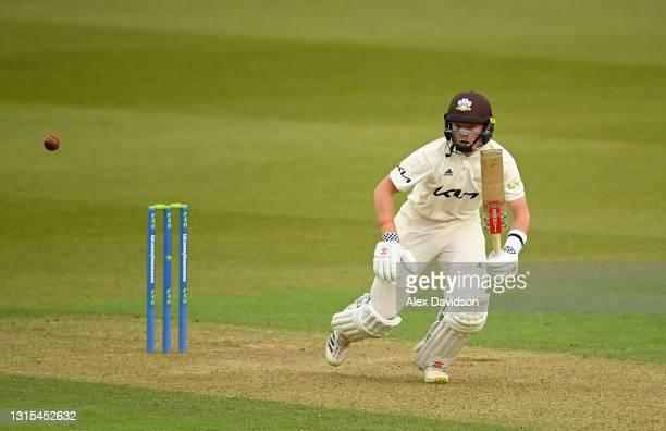 Ollie Pope of Surrey hits runs during Day Two of the LV= Insurance County Championship match between Surrey and Hampshire at The Kia Oval on April...