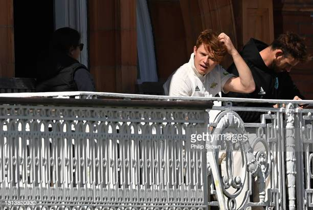 Ollie Pope of Surrey on the dressing room balcony before day one of the LV= Insurance County Championship match between Middlesex and Surrey at...