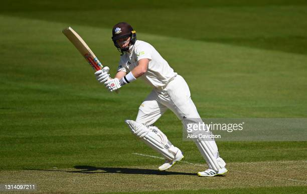 Ollie Pope of Surrey picks up runs during Day One of the LV=Insurance County Championship match between Middlesex and Surrey at Lord's Cricket Ground...