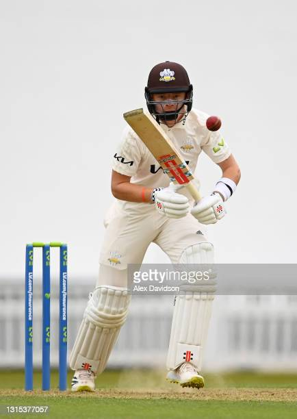 Ollie Pope of Surrey picks up runs during Day Two of the LV= Insurance County Championship match between Surrey and Hampshire at The Kia Oval on...