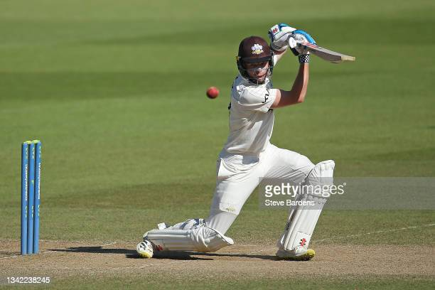 Ollie Pope of Surrey plays a shot on day four during the LV= Insurance County Championship match between Surrey and Glamorgan at The Kia Oval on...