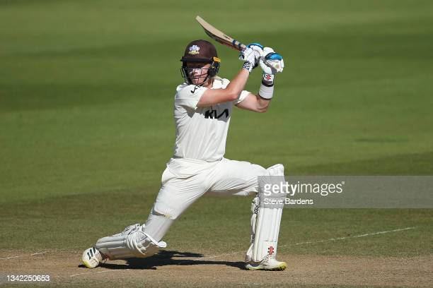 Ollie Pope of Surrey plays a shot to reach his double century on day four during the LV= Insurance County Championship match between Surrey and...