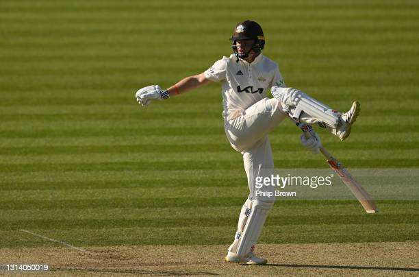 Ollie Pope of Surrey reacts after edging the ball and being dismissed during day two of the LV= Insurance County Championship match between Middlesex...