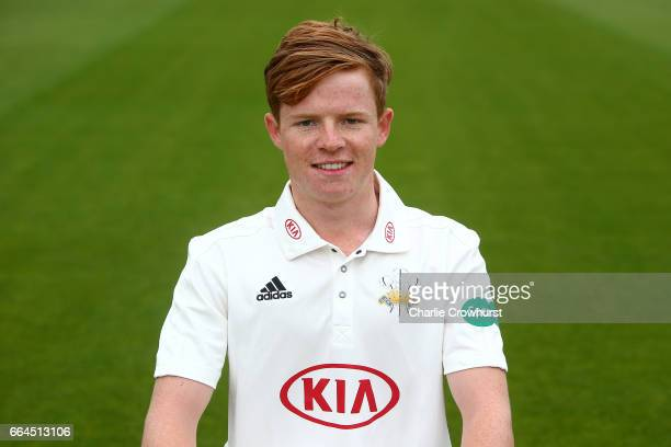 Ollie Pope poses in the Specsavers County Championship kit during the Surrey CCC Photocall at The Kia Oval on April 4 2017 in London England
