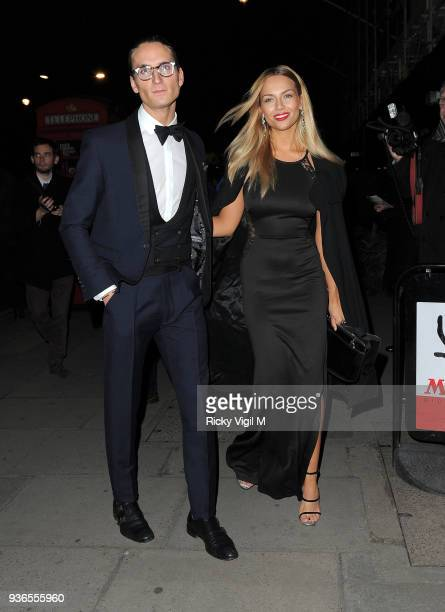 Ollie Proudlock and Emma Louise Connolly attend the British Heart Foundation Roll Out The Red Ball at Park Lane Hotel on February 10 2015 in London...