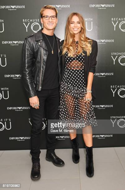 Ollie Proudlock and Emma Louise Connolly attend the Emporio Armani You Fragrance launch at Sea Containers on July 20 2017 in London England