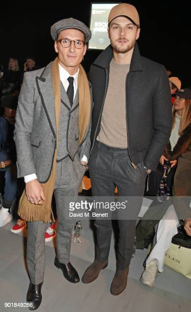 Ollie Proudlock and Jim Chapman attend the Oliver Spencer LFWM AW18 Catwalk Show at the BFC Show Space on January 6 2018 in London England