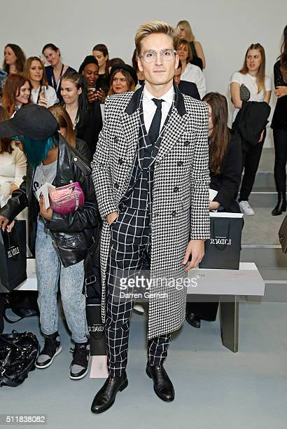 Ollie Proudlock attends the Xiao Li AW 2016 Collections show presented by MercedesBenz at Brewer Street Car Park on February 23 2016 in London England
