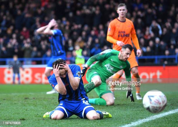 Ollie Rathbone of Rochdale reacts after a missed chance during the FA Cup Third Round match between Rochdale AFC and Newcastle United at Spotland...