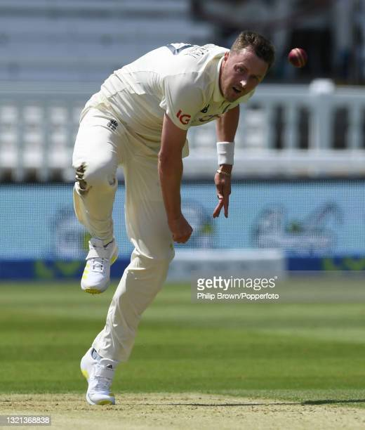 Ollie Robinson of England bowls during day 1 of the First LV= Insurance Test match between England and New Zealand at Lord's Cricket Ground on June...