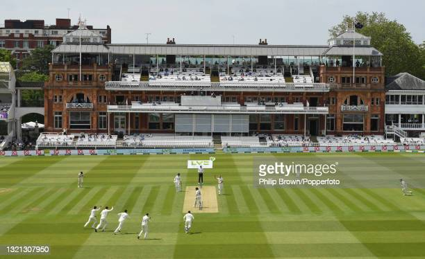 Ollie Robinson of England celebrates after dismissing Tom Latham of New Zealand during day 1 of the First LV= Insurance Test match against New...