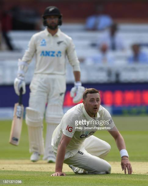Ollie Robinson of England on the ground during day 1 of the First LV= Insurance Test match between England and New Zealand at Lord's Cricket Ground...