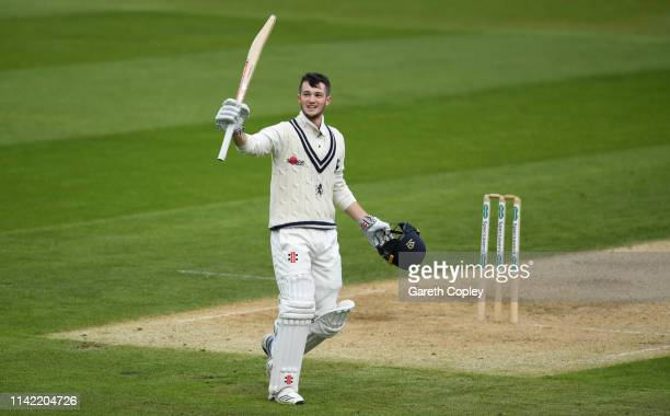 Ollie Robinson of Kent celebrates reaching his century during the Specsavers County Championship Division One match between Warwickshire and Kent at...