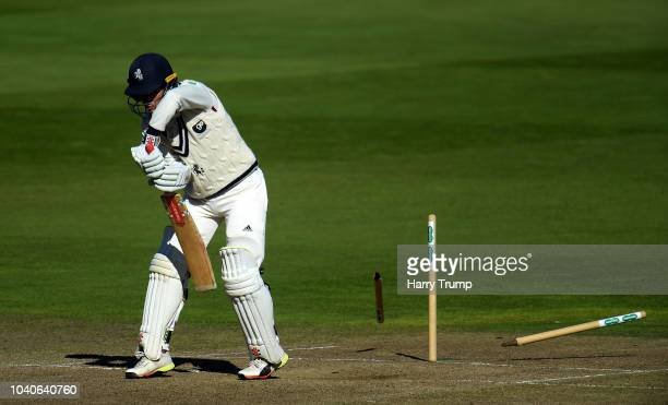 Ollie Robinson of Kent is bowled by Olly Stone of Warwickshire during Day Three of the Specsavers County Championship Division Two match between...