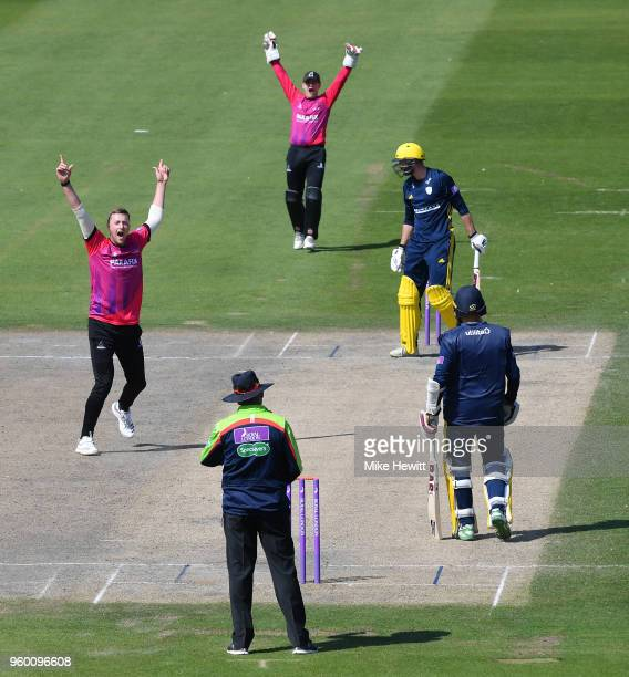 Ollie Robinson of Sussex appeals successfully for lbw against James Vince of hampshire during the Royal London OneDay Cup match between Sussex and...