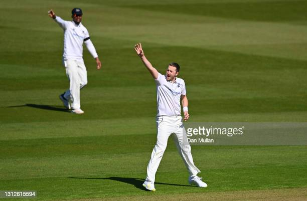 Ollie Robinson of Sussex appeals unsuccessfully for the wicket of Andy Balbirnie of Glamorgan during day one of the LV= County Championship match...