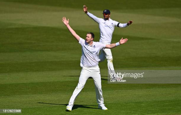 Ollie Robinson of Sussex appeals unsuccessfully for the wicket of Kiran Carlson of Glamorgan during day one of the LV= County Championship match...
