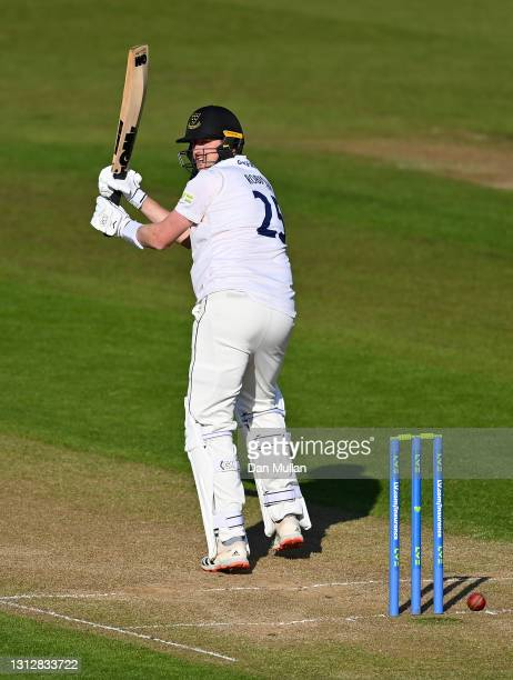 Ollie Robinson of Sussex bats during day two of the LV= Insurance County Championship match between Glamorgan and Sussex at Sophia Gardens on April...
