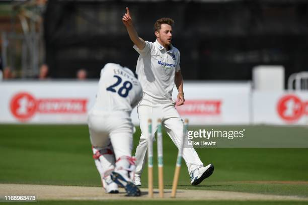Ollie Robinson of Sussex celebrates after bowling Stephen Eskinazi of Middlesex during the Specsavers County Championship: Division Two match between...