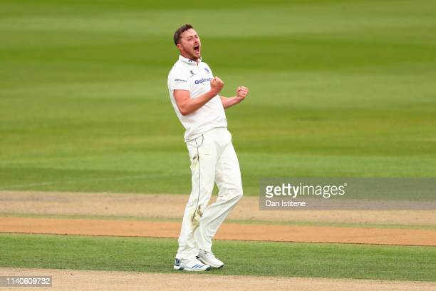 Ollie Robinson of Sussex celebrates after claiming the wicket of Hasan Azad of Leicestershire during the Specsavers County Championship Division Two...