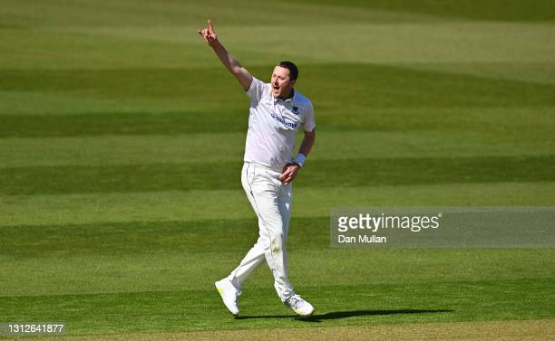Ollie Robinson of Sussex celebrates taking the wicket of Chris Cooke of Glamorgan during day one of the LV= Insurance County Championship match...
