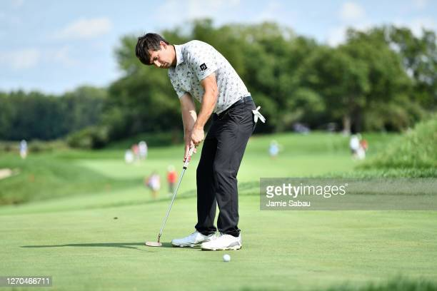 Ollie Schniederjans in action during the third round of the Korn Ferry Tour Championship at Victoria National Golf Club on August 29, 2020 in...