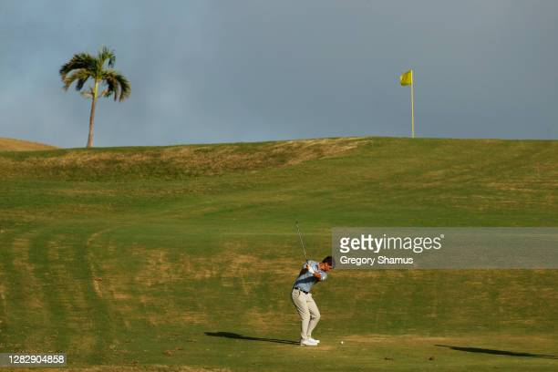 Ollie Schniederjans of the United States plays a shot on the ninth hole during the first round of the Bermuda Championship at Port Royal Golf Course...