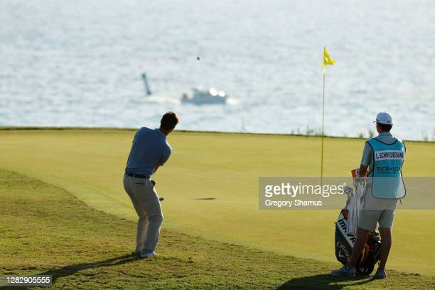 Ollie Schniederjans of the United States plays a shot to the eighth green during the first round of the Bermuda Championship at Port Royal Golf...