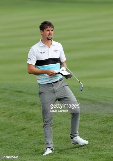 Ollie Schniederjans of the United States plays his second shot on the par 4, fourth hole during the third round of the 2019 Players Championship held...