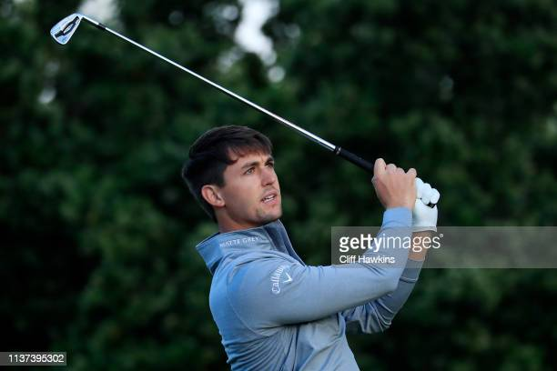 Ollie Schniederjans of the United States plays his shot from the 13th tee during the first round of the Valspar Championship on the Copperhead course...