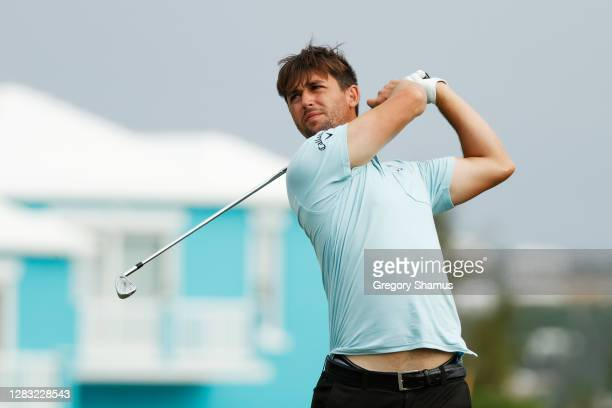 Ollie Schniederjans of the United States plays his shot from the 15th tee during the third round of the Bermuda Championship at Port Royal Golf...