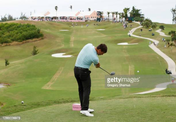 Ollie Schniederjans of the United States plays his shot from the 18th tee during the third round of the Bermuda Championship at Port Royal Golf...